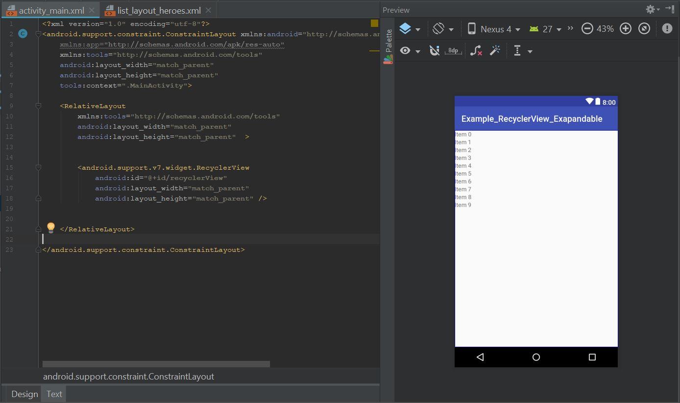 Como crear un RecyclerView Expandable en Android - Universo