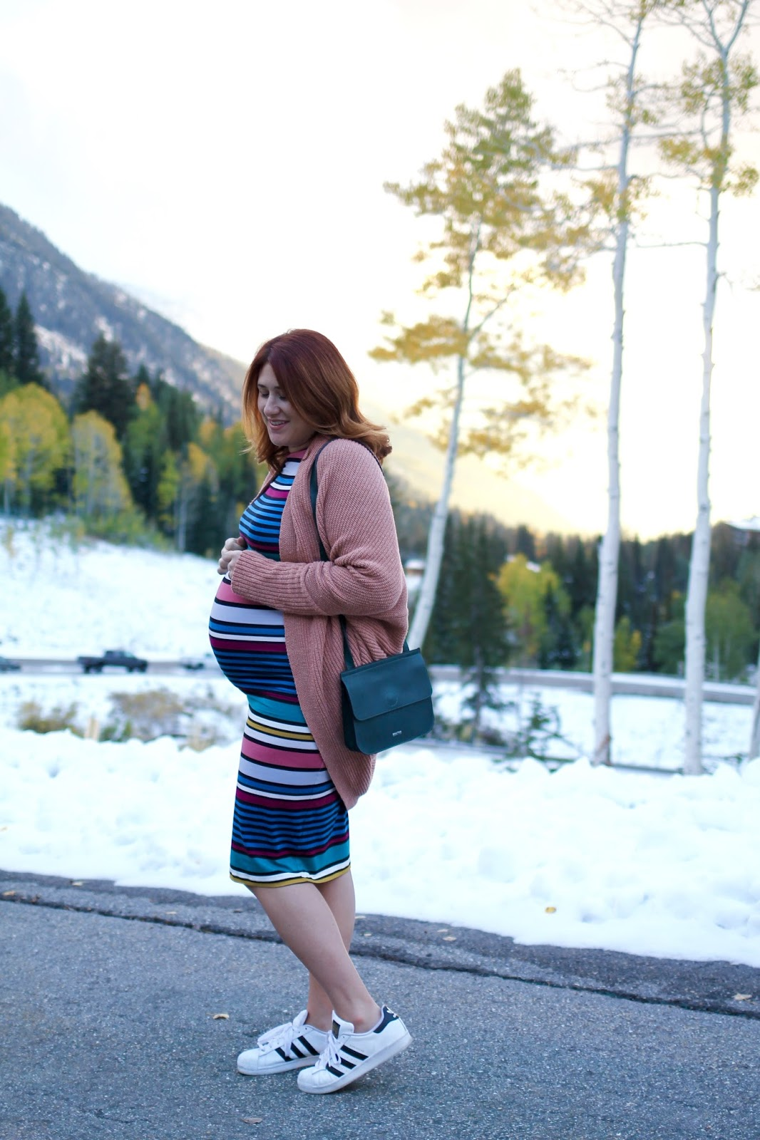 Maternity style, pregnancy outfit, red hair, cocoon sweater, asos maternity striped dress, adidas classic sneakers
