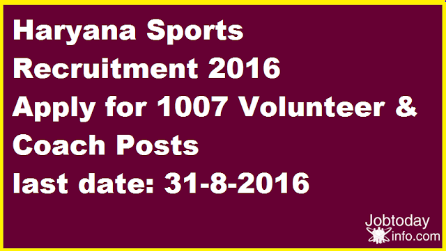 Haryana Sports Recruitment 2016 Apply for 1007 Volunteer & Coach Posts