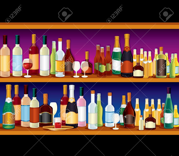 Seamless Vector Bar Shelves With Variety Alcohol Drinks And Beverages Stock  Vector