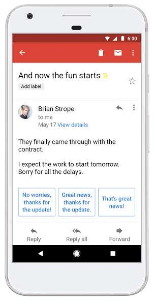 Google introduce la funzione Smart reply anche su Gmail per Android.