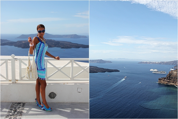 graphic print blue flirty summer dress Santorini outfit