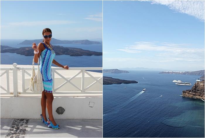 graphic print blue flirty summer dress Santorini outfit