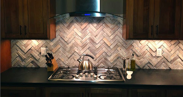 wooden kitchen backsplash herringbone design