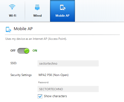 Creating Mobile AP using Settings in Samsung