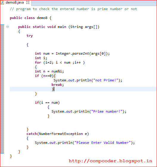 program of prime number in java