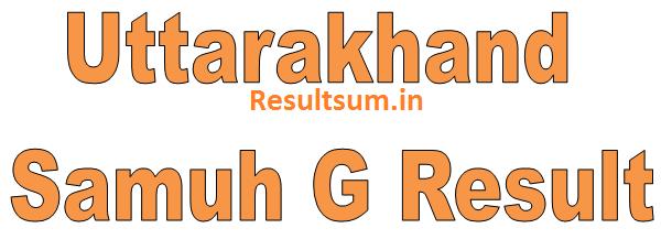 Uttarakhand Samuh G Result 2015
