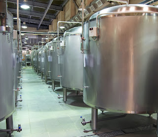 stainless steel fermentation tanks in brewery