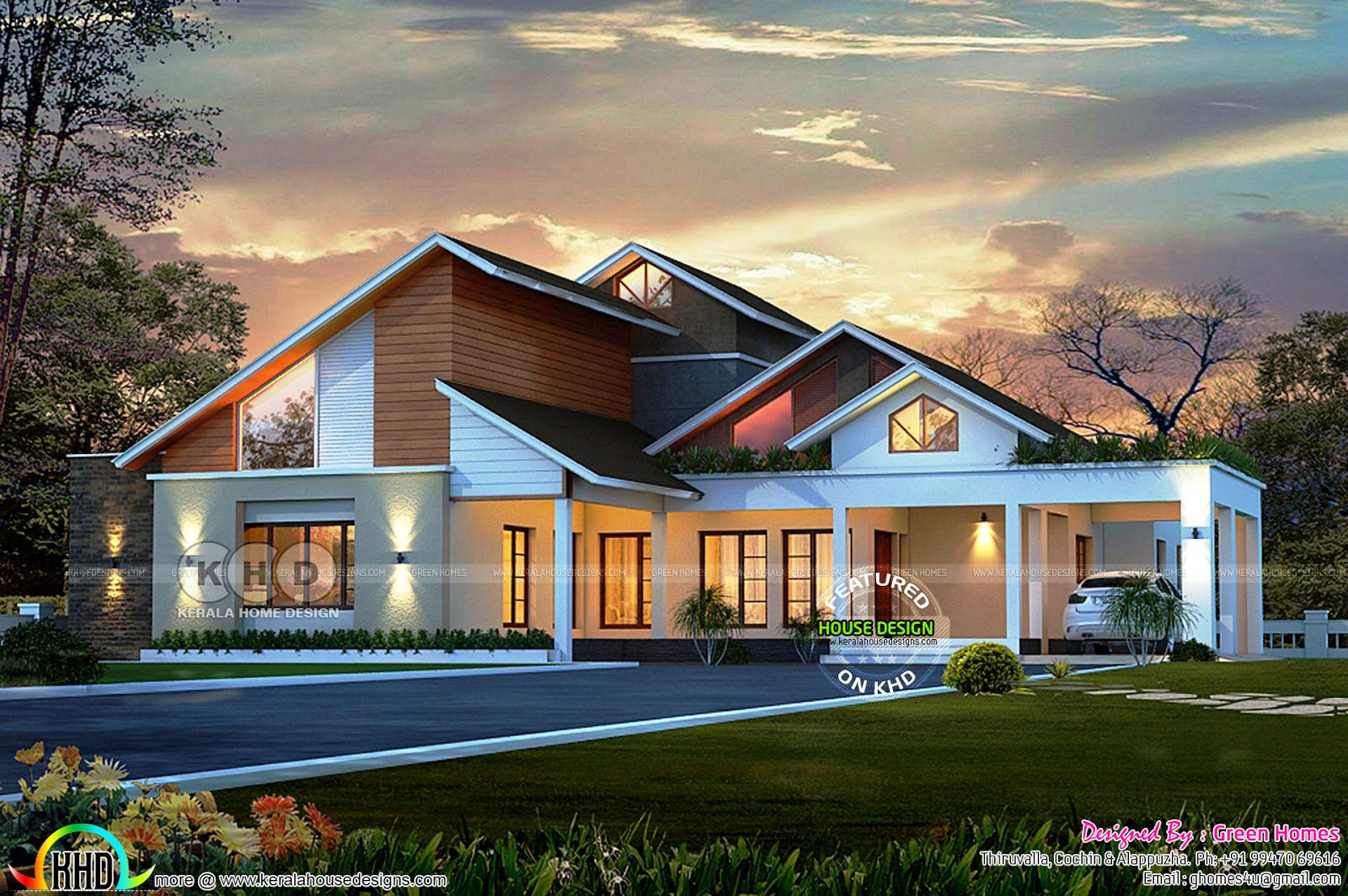 Slanting sloping roof modern home 2850 square feet for Slanted roof house plans