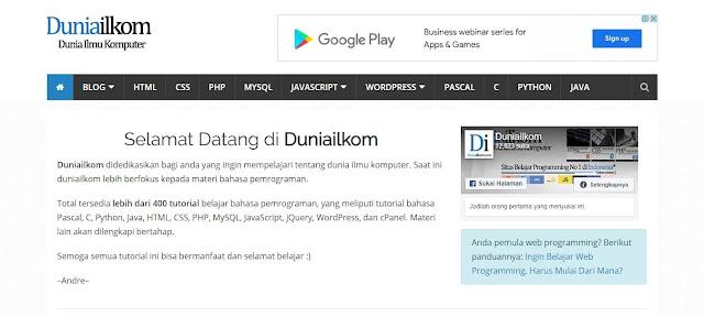 Situs Tempat Belajar Coding HTML, CSS Dan Javascript Bersama Duniailkom