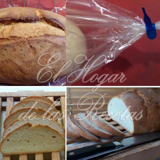 Pan milagro o sin amasado, horneado en una bolsa apta para el horno. La miga es bastante compacta