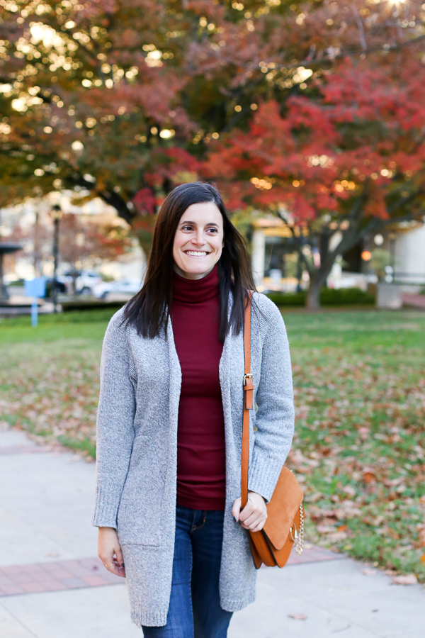 Naturally Me, Fall Outfit Idea, How to Wear a Long Cardigan, Zaful Long Cardigan, Grey Cardigan, Express Booties