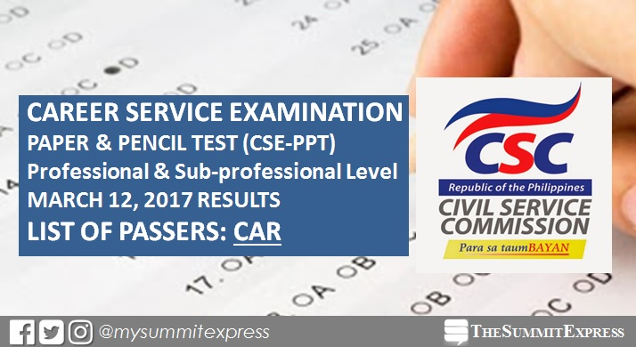 CAR Passers: March 2017 Civil Service Exam results CSE-PPT
