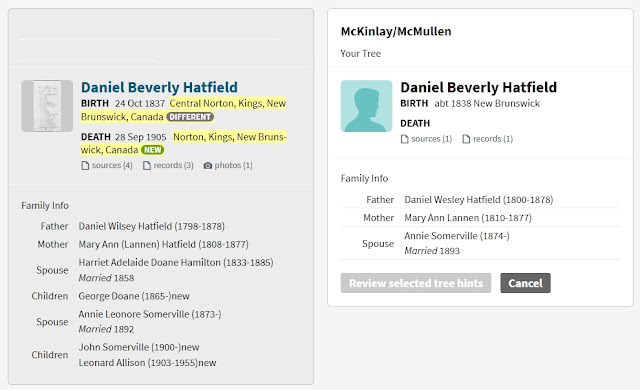 Screen capture from a specific Ancestry Member Tree hint for Daniel Beverly Hatfield