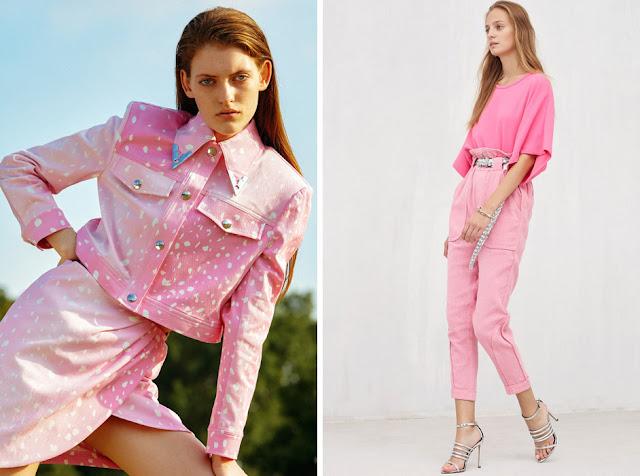 Жакет и джинсы из розового денима