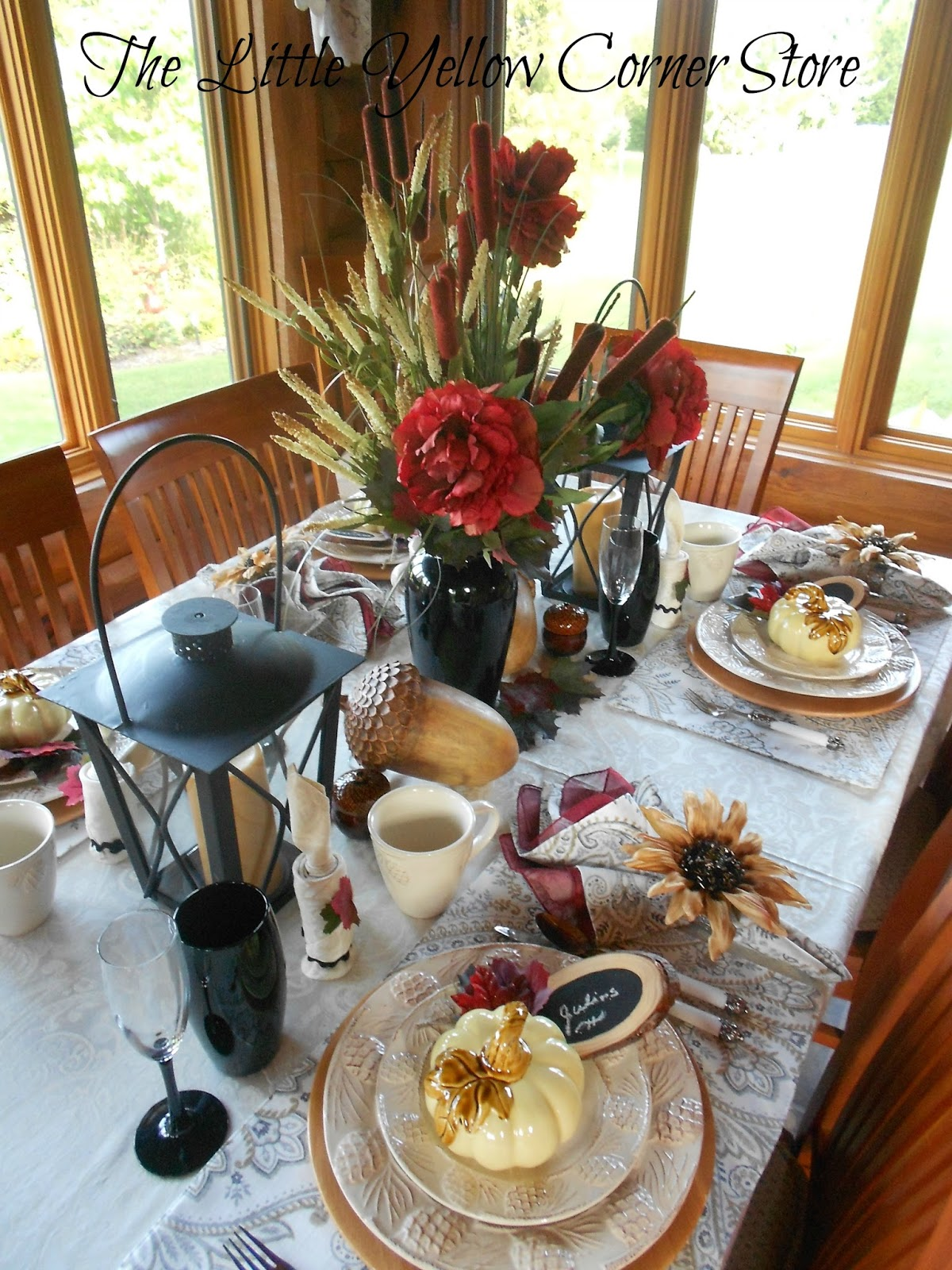 The Little Yellow Corner Store Autumn Candlelight Tablescape