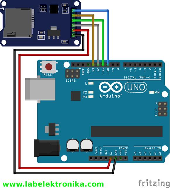 Wiring microSD menggunakan Arduino