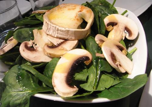 Ensalada de espinaca y champiñones