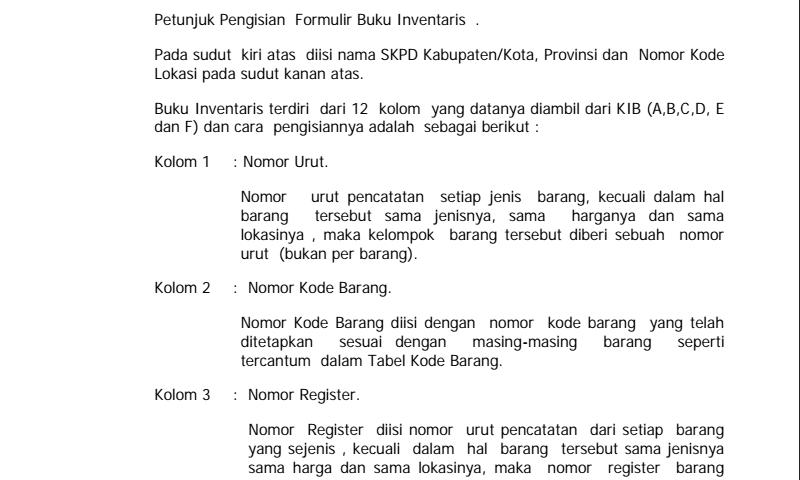 Format Buku Panduan Cara Pengisian Buku Inventaris - Bagian 2  dalam Pembuatan Laporan Inventaris Sekolah Terbaru