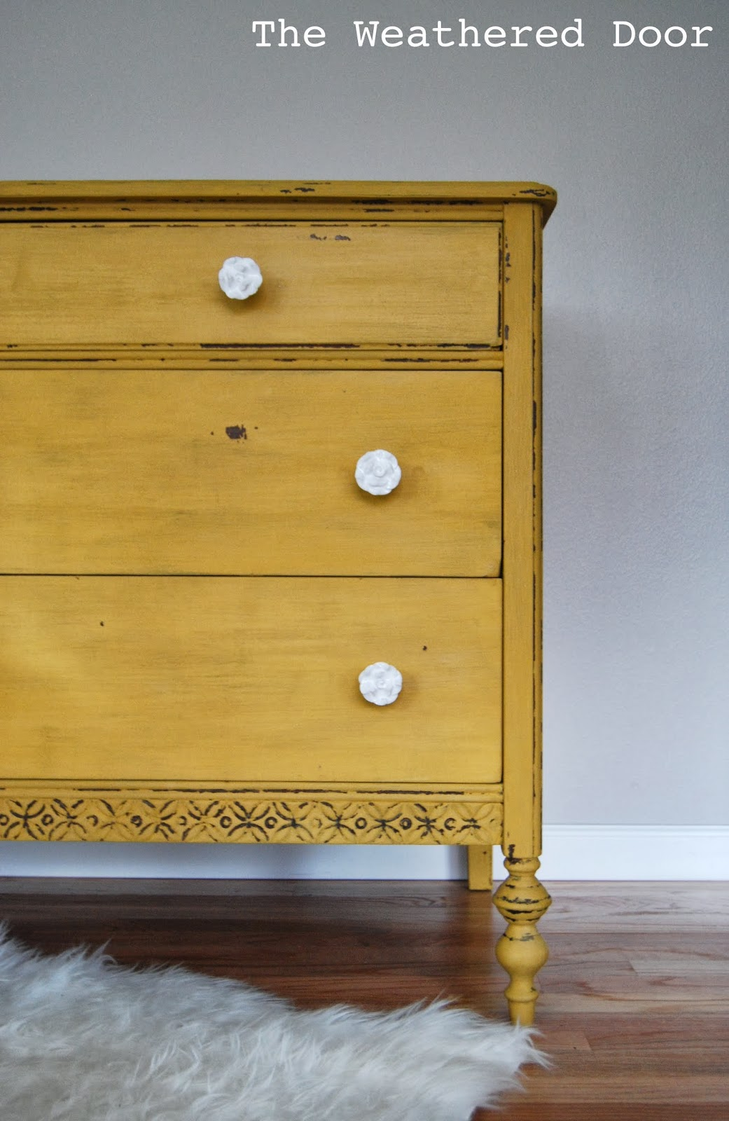 Very A chippy, mustard yellow dresser - The Weathered Door RP89