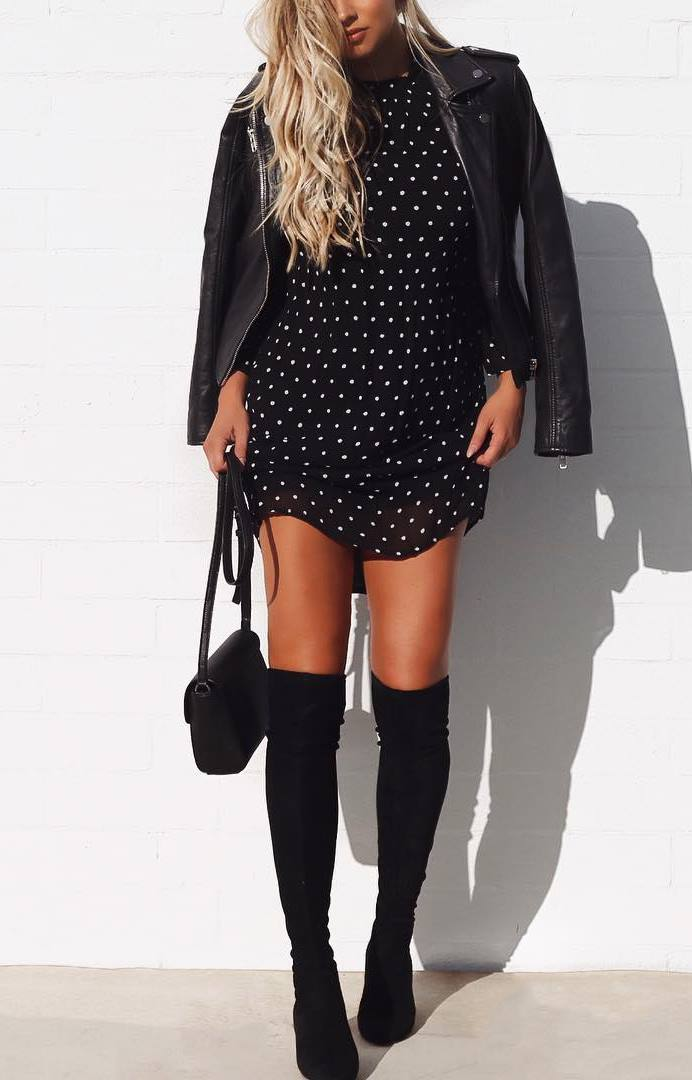 what to wear with a black biker jacker : polka dots dress + bag + over knee boots