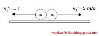 Jika v2' adalah kecepatan benda 2 setelah tumbukan ke kanan dengan laju 5 m/s, berapa besar kecepatan v1' setelah tumbukan ?