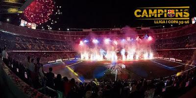 El Barça festejó el doblete en el Camp Nou fotos