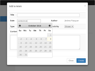 A JQuery datepicker in a modal