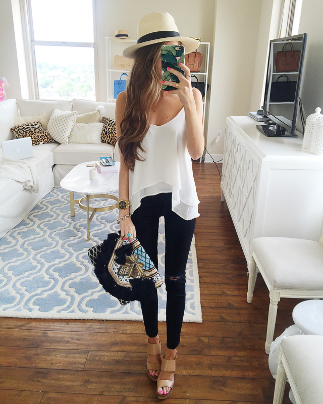 white top black pants
