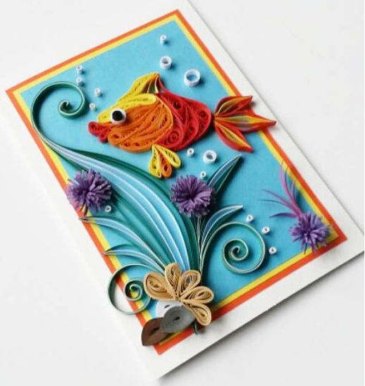 Quilling Handmade Kids Birthday Greeting Card Designs 2015