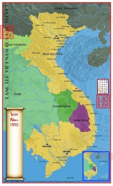 Bản đồ Việt Nam năm 1835 sau khi sáp nhập các vùng đất của Lào và Campuchia