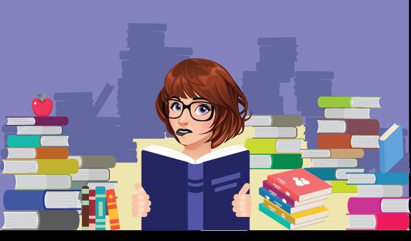 Menina cercada de livros