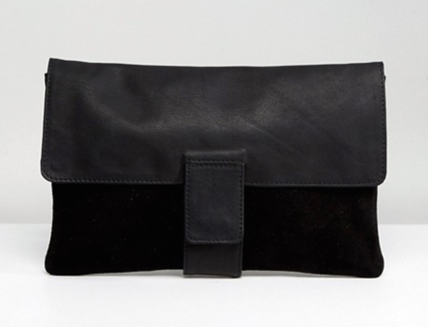 ASOS leather and suede tab front clutch bag