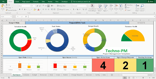 project tracking template, excel project manager