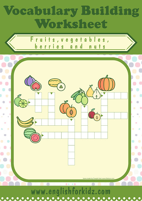 Fruits and vegetables crossword puzzle for English learners