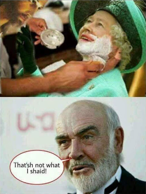 Funny Sean Connery God Shave The Queen Meme - That'sh not what I shaid!