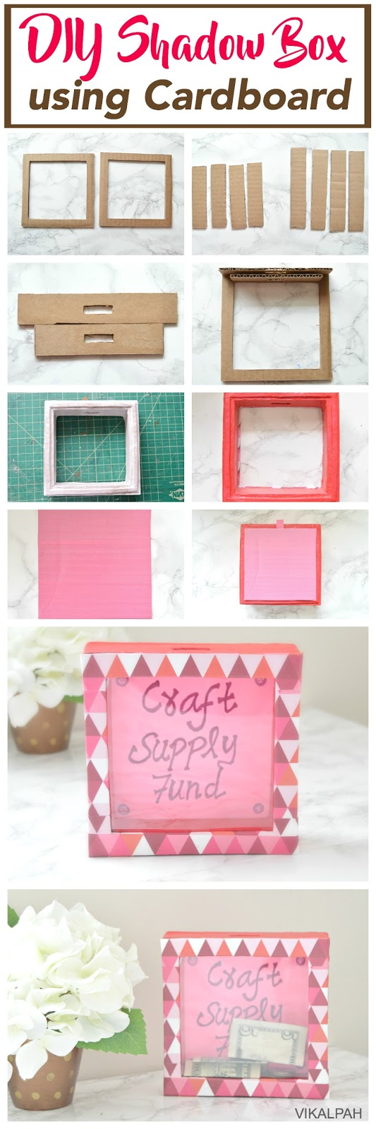 How to make piggy bank shadow box using cardboard