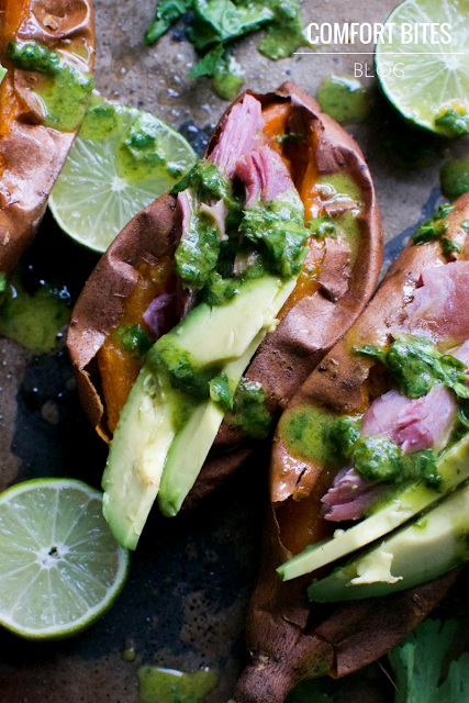 Sweet Potatoes with Smoked Turkey, Avocado and Coriander Cilantro Lime Dressing Paleo AIP