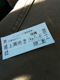 上高地への切符