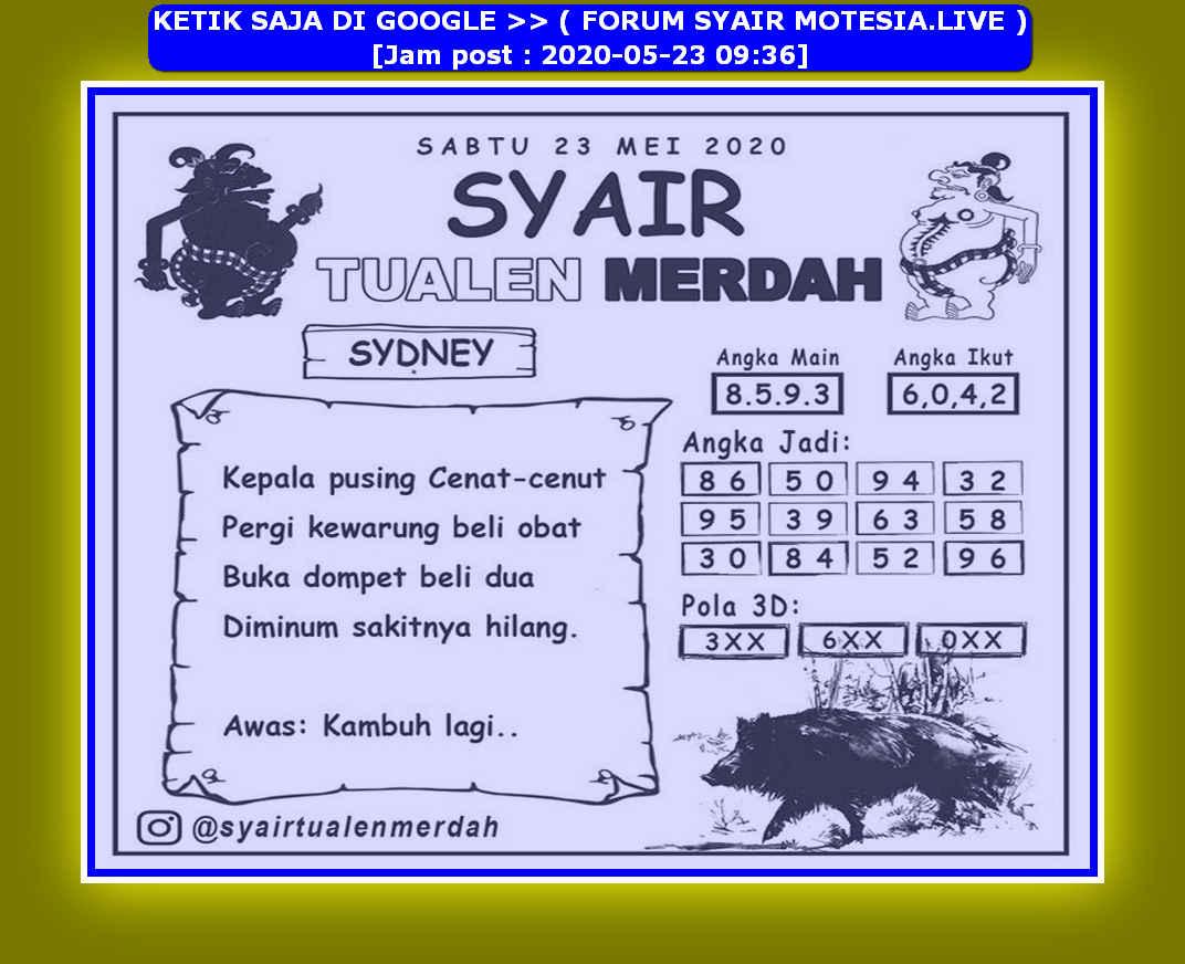 Kode syair Sydney Sabtu 23 Mei 2020 207