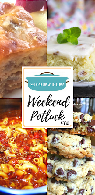 Featured recipes at Weekend Potluck 330 include Cheesy Southwestern Breakfast Casserole, Instant Pot Goulash, Blonde Texas Sheet Cake with Pecans, and The Best Chocolate Chip Oatmeal Cookies.