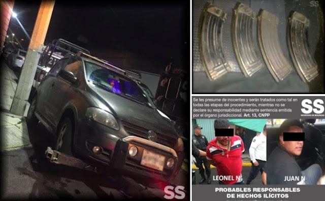 Cargadores, autos, detenidos