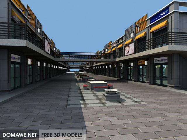 DOMAWE net: Shopping Street 3D Model Free Download
