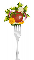 Picture of salad on fork