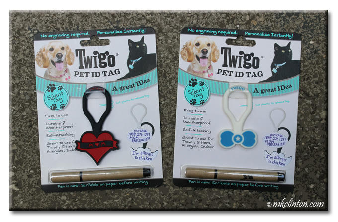 Twigo Pet ID Tags Red heart with M♥m written on it and a blue bone with white star in center