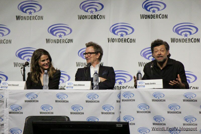Keri Russell, Gary Oldman, and Andy Serkis at the Dawn of the Planet of the Apes panel