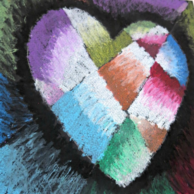 Oil Pastel Heart - great project for Valentine's Day