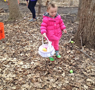 gathering eggs on the trail at the nature center