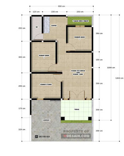 Denah Rumah 6x12 3 kamar tidur dan garasi