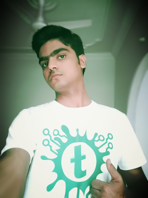 Syed Faizan Ali Wearing Templateism Branded T-Shirt